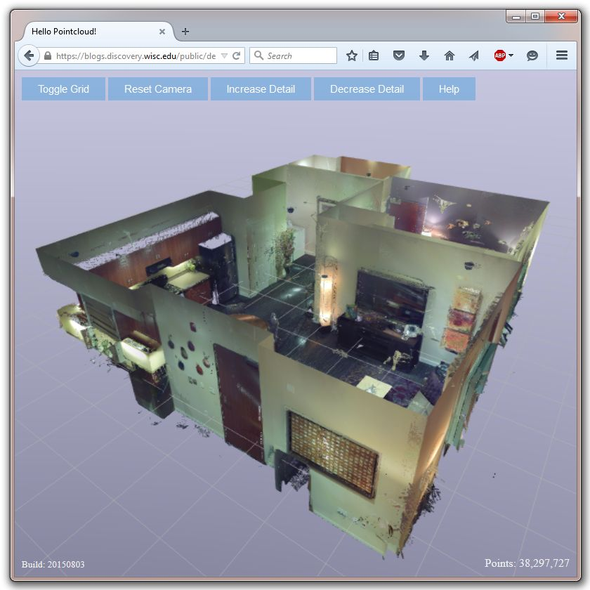 Web viewer showing a point cloud of an apartment